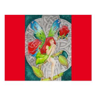 hada céltica del rosa rojo de la cruz del nudo tarjetas postales