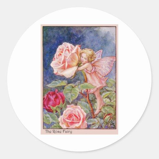 Hada color de rosa etiqueta redonda
