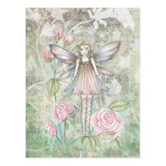 Hada color de rosa imaginaria postales