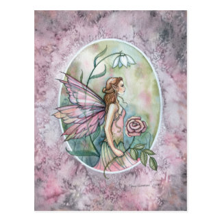 Hada color de rosa rosada de la flor por Molly Har Tarjetas Postales