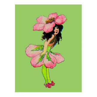 Hada color de rosa salvaje M.T Ross de las hadas d Postal
