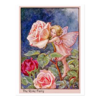 Hada color de rosa tarjeta postal