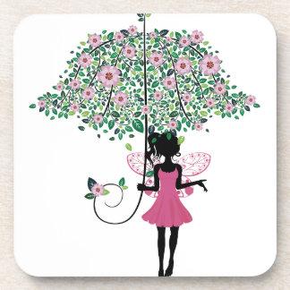 Hada con el paraguas floral posavaso