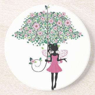 Hada con el paraguas floral posavasos personalizados