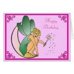 Hada con feliz cumpleaños de la vara del polvo mág tarjetas