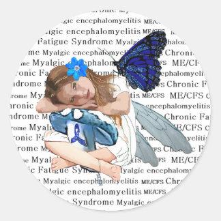 Hada crónica del ángel de la niña del cansancio de pegatina redonda