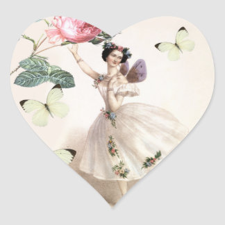 Hada de la bailarina calcomanías corazones