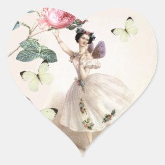 Hada de la bailarina calcomanía de corazón personalizadas
