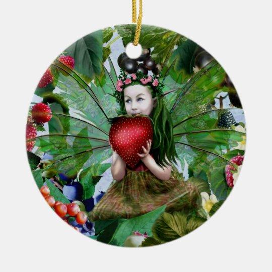 Hada de la baya adorno navideño redondo de cerámica