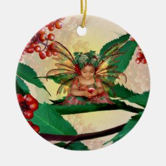 Hada de la baya del saúco adorno redondo de cerámica