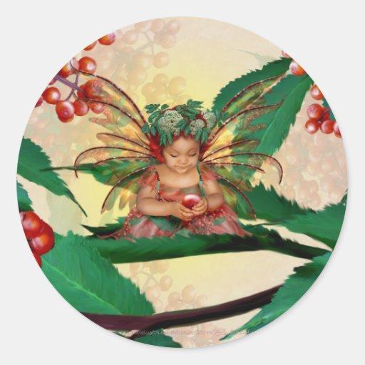 Hada de la baya del saúco etiquetas redondas