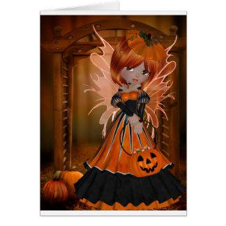 Hada de la calabaza de Halloween Tarjeton