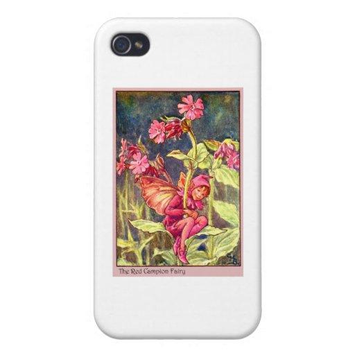 Hada de la coronaria roja iPhone 4 carcasas