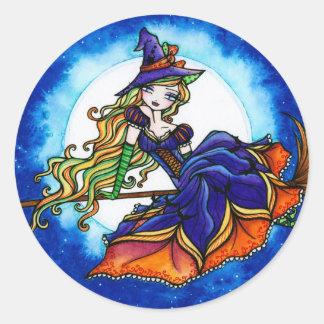 Hada de la fantasía de Halloween de la bruja de Pegatina Redonda