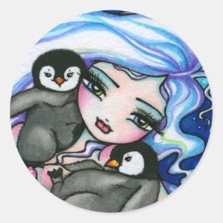 """""""Hada de la fantasía de los pingüinos del bebé de Pegatina Redonda"""