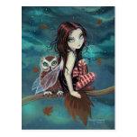 Hada de la fantasía del búho del otoño y postal gó