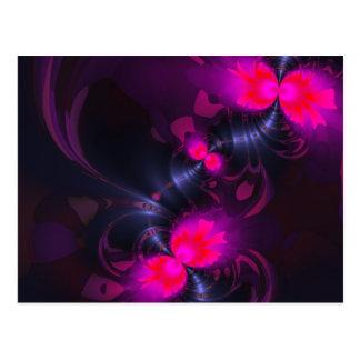 Hada de la flor, cintas color de rosa y magentas tarjeta postal