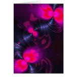 Hada de la flor - color de rosa y cintas magentas  tarjeton