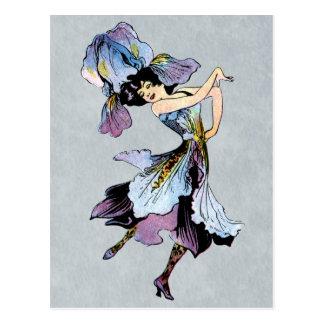 hada de la flor del iris del vintage postal