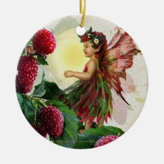 Hada de la frambuesa adorno redondo de cerámica