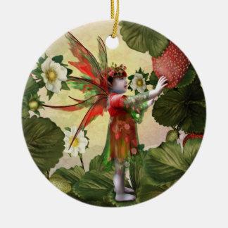 Hada de la fresa adorno redondo de cerámica