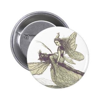 Hada de la libélula pin redondo 5 cm
