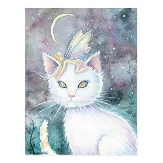 Hada de la luna de la astilla y postal del gato