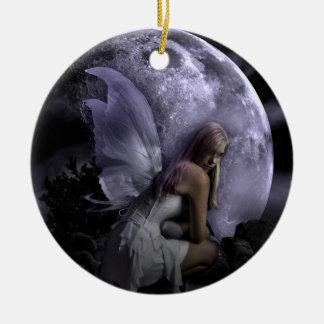 Hada de la luz de luna adorno redondo de cerámica