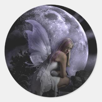 Hada de la luz de luna pegatinas redondas