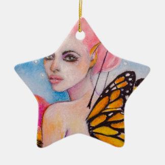 Hada de la mariposa de monarca con Haiir rosado Adorno De Cerámica En Forma De Estrella