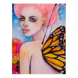 Hada de la mariposa de monarca con Haiir rosado Tarjetas Postales