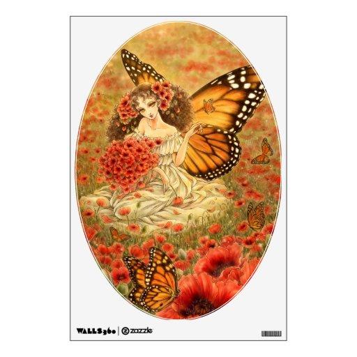 Hada de la mariposa de monarca en etiqueta de la p