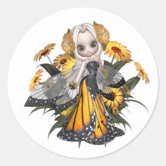Hada de la mariposa de monarca pegatinas