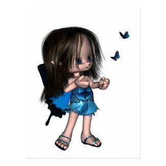 Hada de la mariposa de Toon - azul Postales