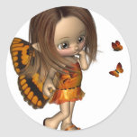 Hada de la mariposa de Toon - naranja Pegatinas Redondas