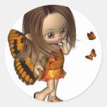 Hada de la mariposa de Toon - naranja Pegatinas