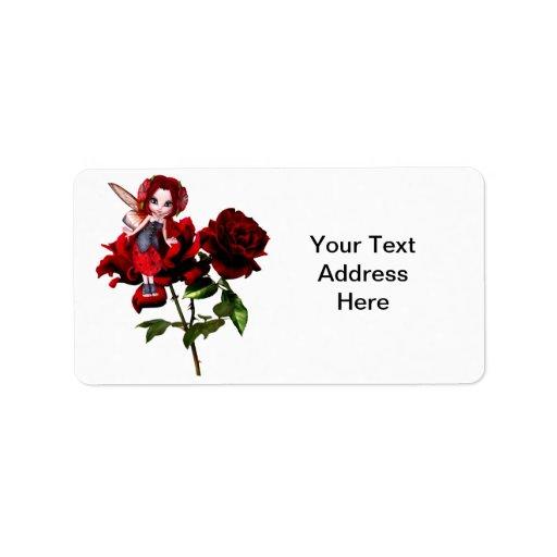 Hada de la mariquita en rosas rojos etiqueta de dirección
