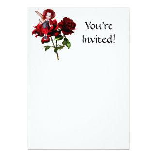 """Hada de la mariquita en rosas rojos invitación 5"""" x 7"""""""