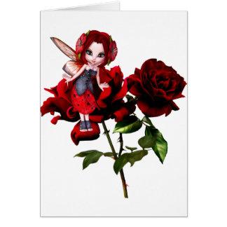 Hada de la mariquita en rosas rojos tarjeta de felicitación