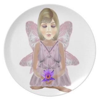 Hada de la meditación con la placa de Lotus Platos