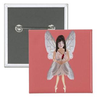 Hada de la tarjeta del día de San Valentín del ros Pin Cuadrado
