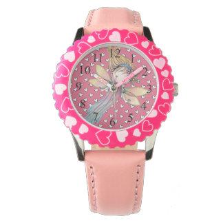 Hada de los chicas lindos y reloj rosados de los