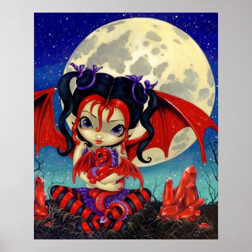 Hada de rubíes del dragón de Dragonling de la luna Poster