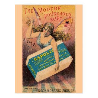 Hada del anuncio del jabón del vintage tarjetas postales