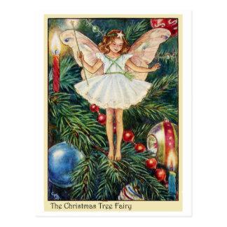 Hada del árbol de navidad postales
