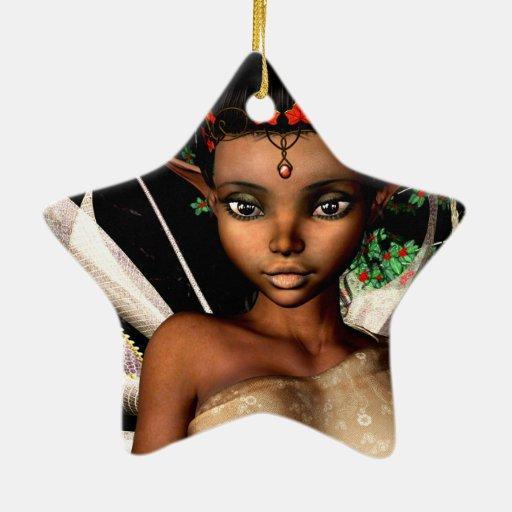 Hada del arbolado adorno navideño de cerámica en forma de estrella