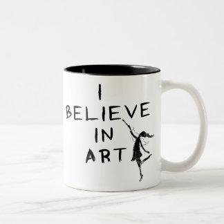 Hada del arte: Creo en arte Taza De Dos Tonos