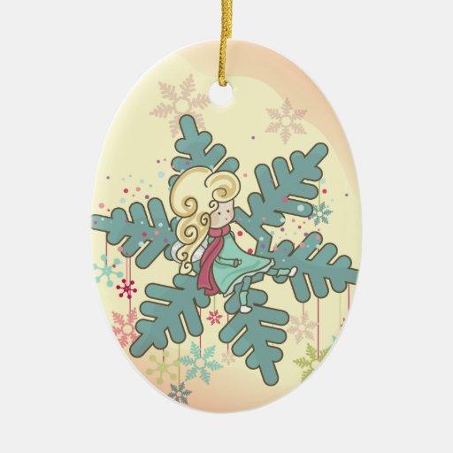 Hada del copo de nieve adorno navideño ovalado de cerámica