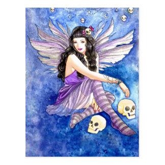 Hada del cráneo arte púrpura de la polilla de la tarjeta postal