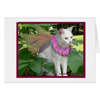 Hada del gato con el collar Notecard del pensamien Tarjeta Pequeña